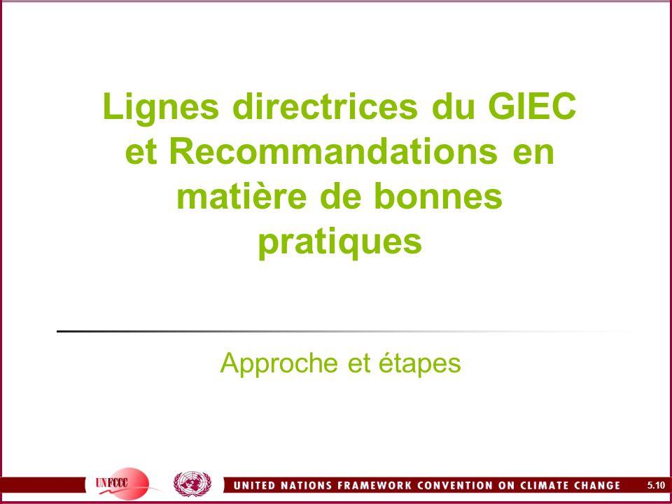 Lignes directrices du GIEC et Recommandations en matière de bonnes pratiques