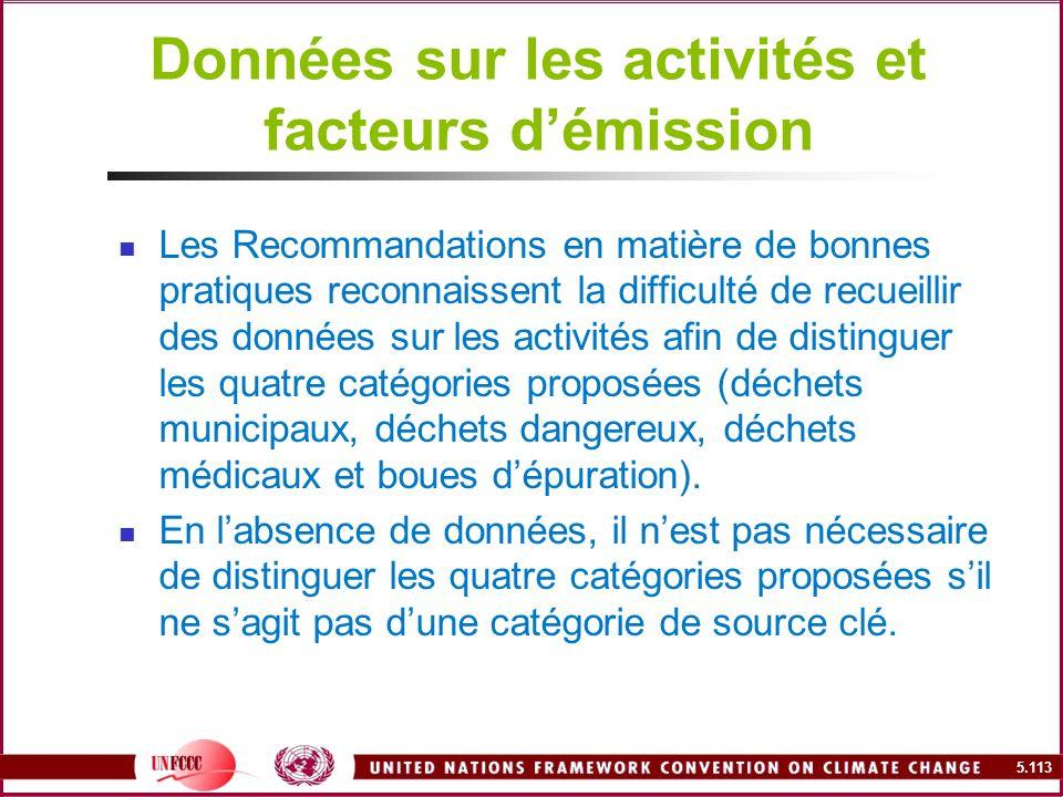 Données sur les activités et facteurs d'émission