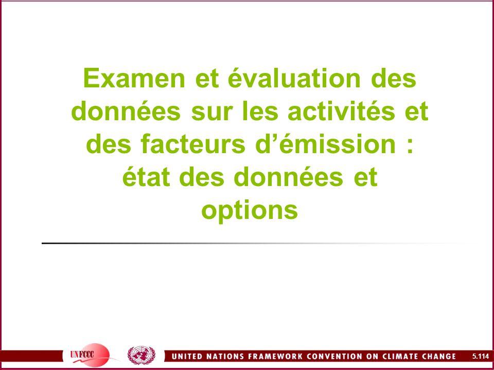 Examen et évaluation des données sur les activités et des facteurs d'émission : état des données et options