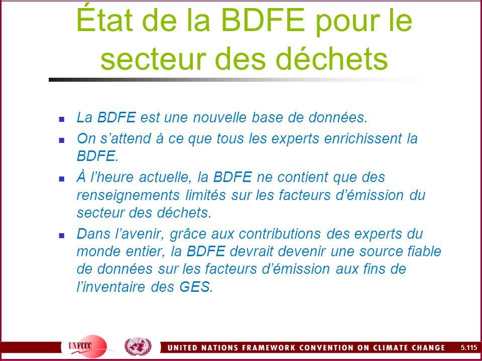 État de la BDFE pour le secteur des déchets
