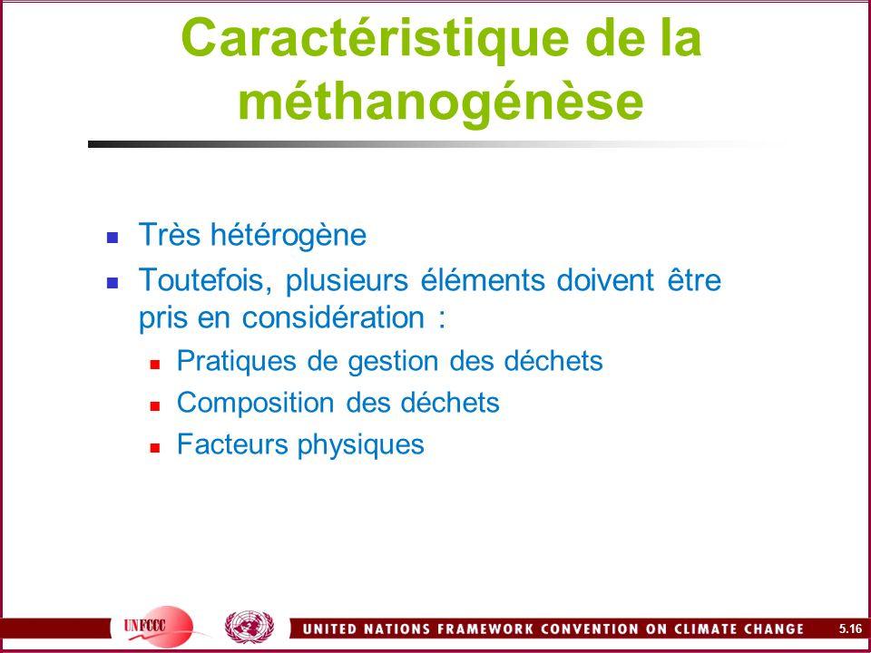 Caractéristique de la méthanogénèse