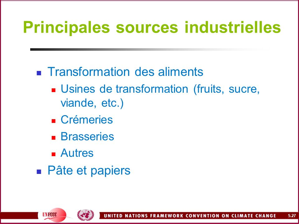 Principales sources industrielles