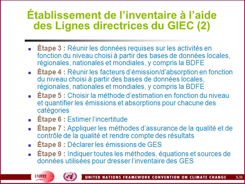Établissement de l'inventaire à l'aide des Lignes directrices du GIEC (2)