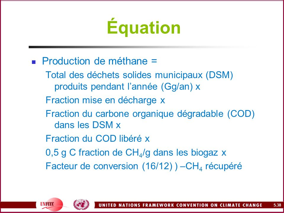 Équation Production de méthane =