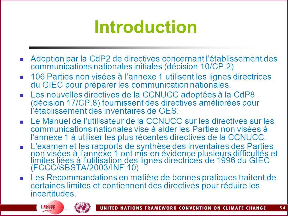 Introduction Adoption par la CdP2 de directives concernant l'établissement des communications nationales initiales (décision 10/CP.2)