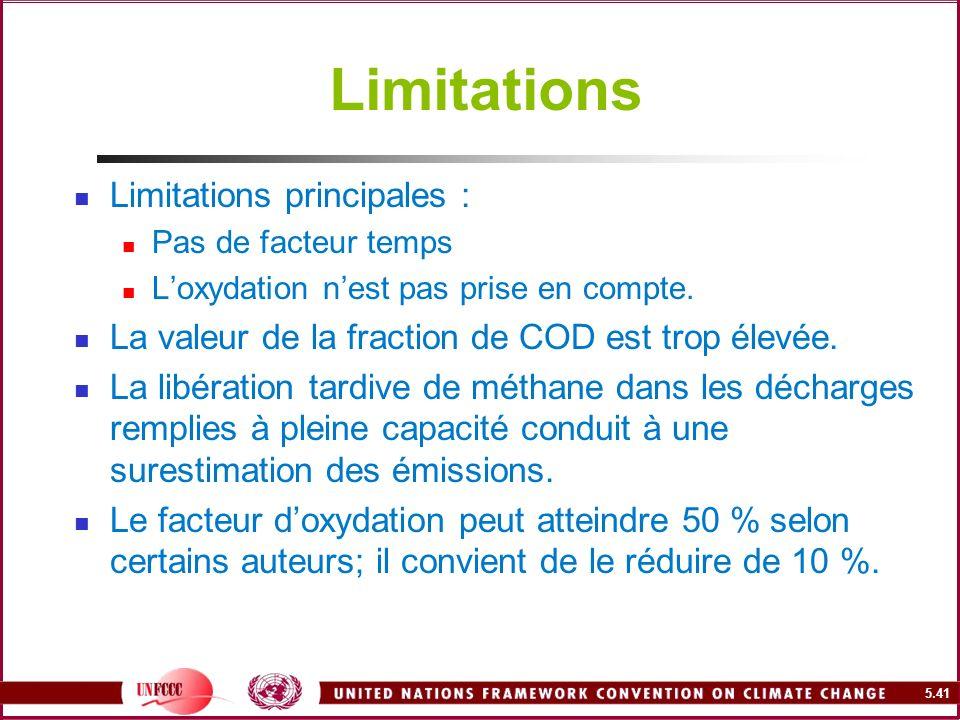 Limitations Limitations principales :
