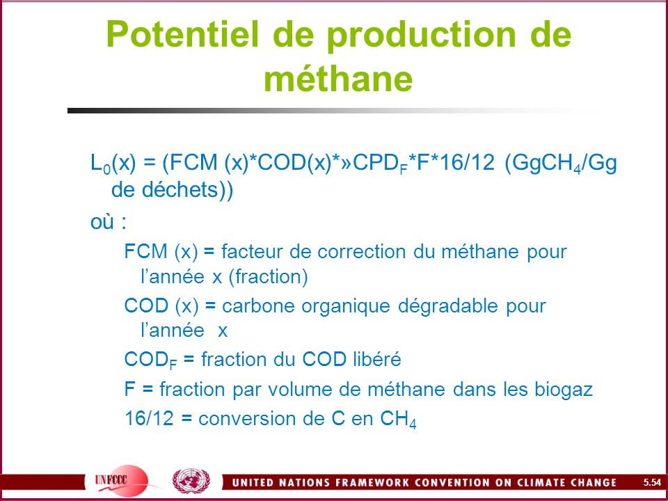 Potentiel de production de méthane