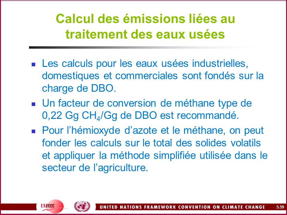 Calcul des émissions liées au traitement des eaux usées