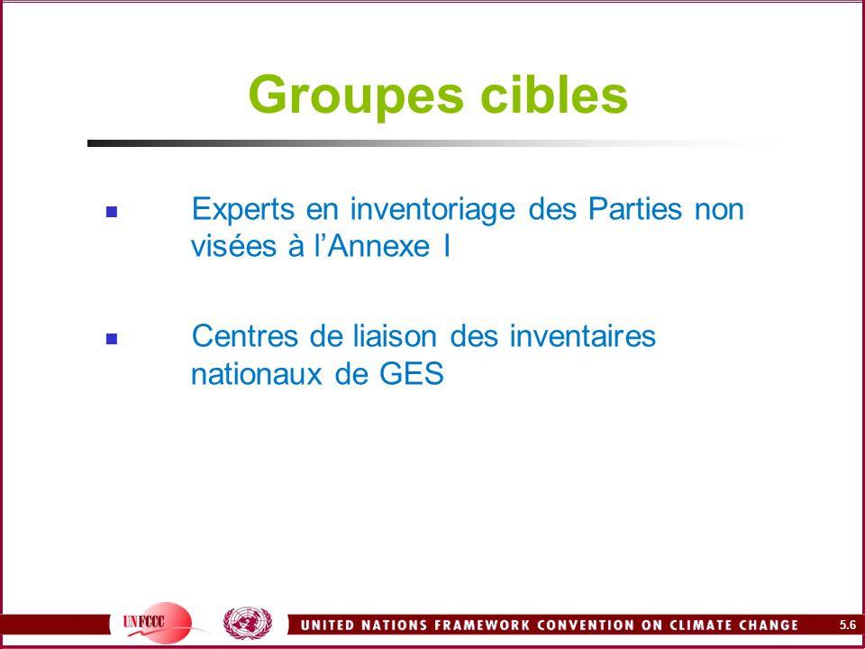 Groupes cibles Experts en inventoriage des Parties non visées à l'Annexe I.