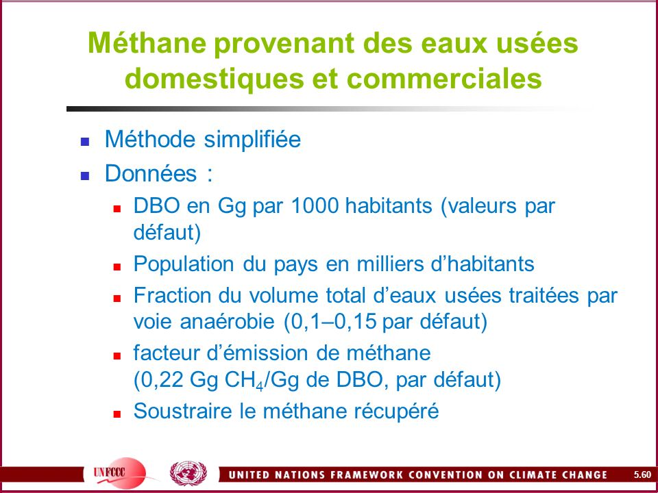 Méthane provenant des eaux usées domestiques et commerciales