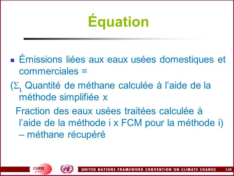 Équation Émissions liées aux eaux usées domestiques et commerciales =