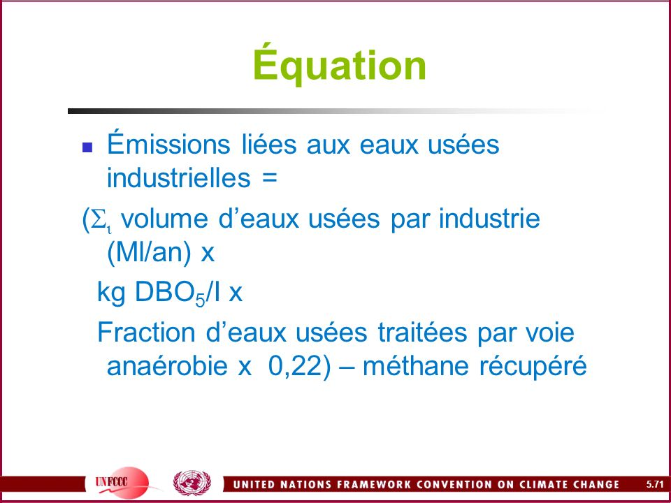 Équation Émissions liées aux eaux usées industrielles =