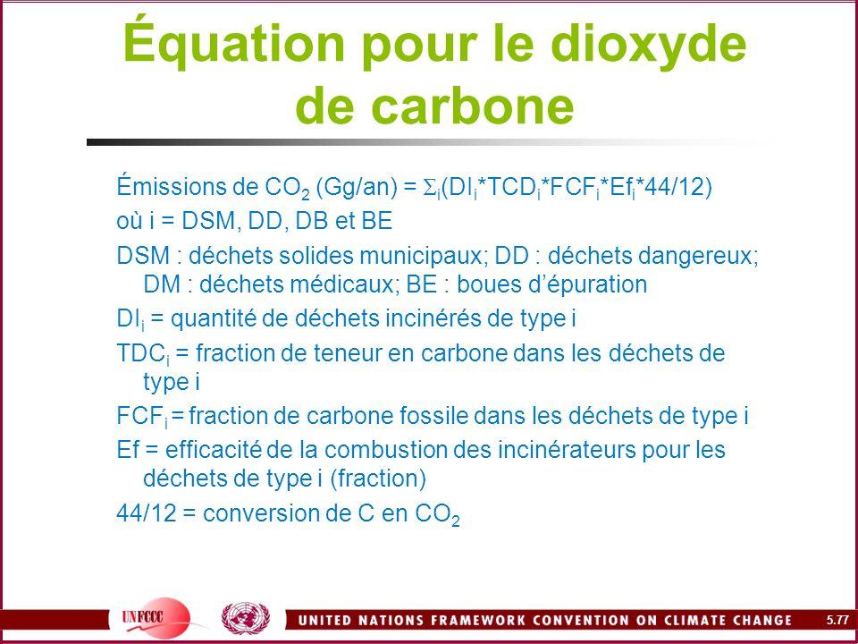 Équation pour le dioxyde de carbone