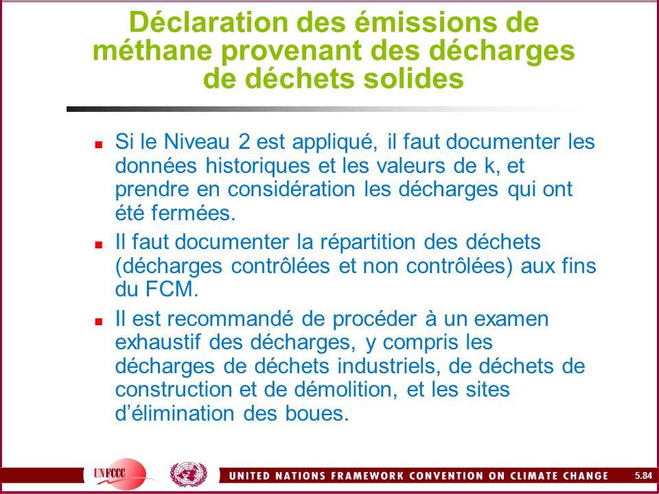 Déclaration des émissions de méthane provenant des décharges de déchets solides