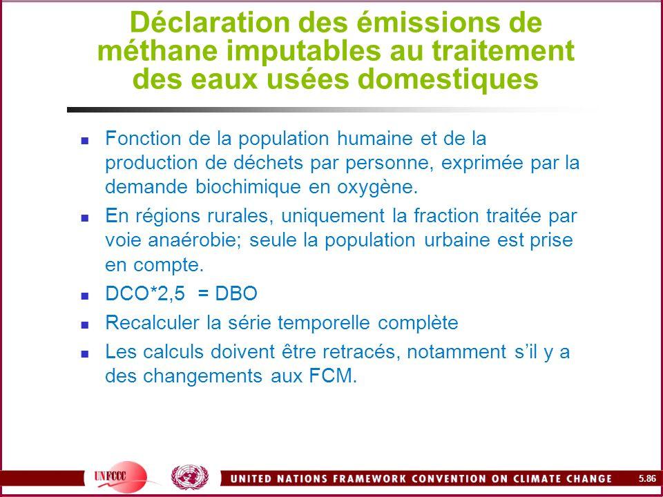 Déclaration des émissions de méthane imputables au traitement des eaux usées domestiques