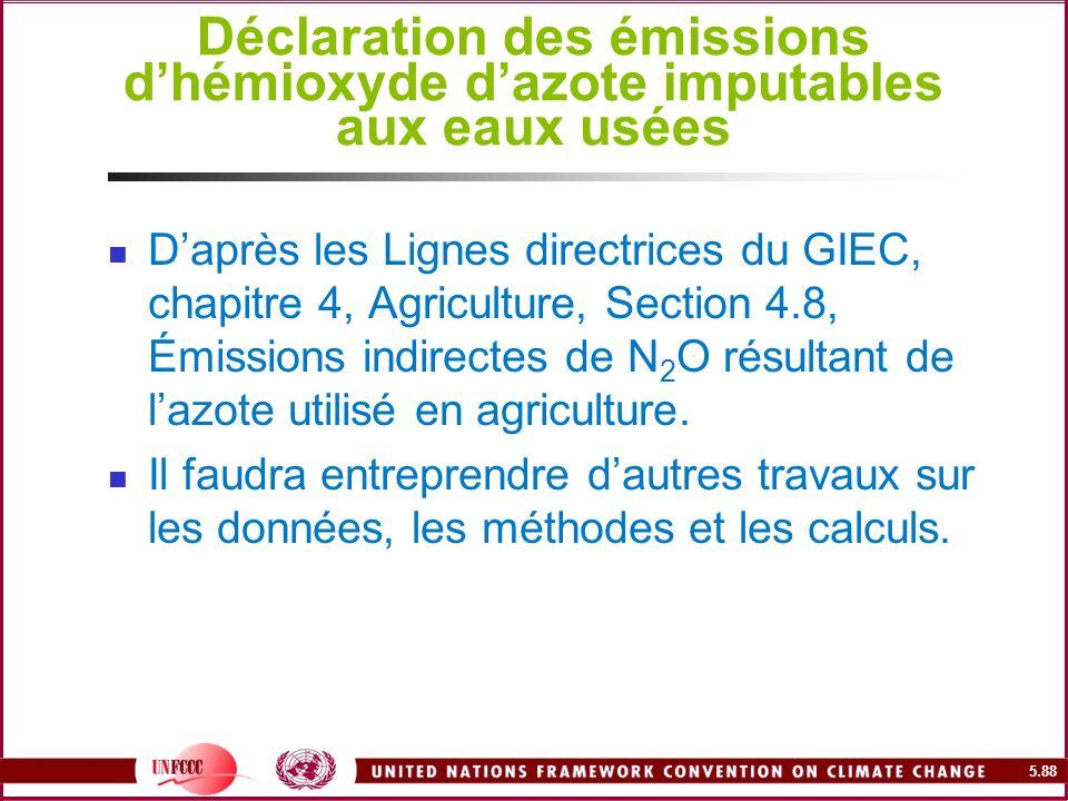 Déclaration des émissions d'hémioxyde d'azote imputables aux eaux usées