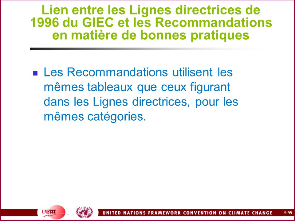 Lien entre les Lignes directrices de 1996 du GIEC et les Recommandations en matière de bonnes pratiques