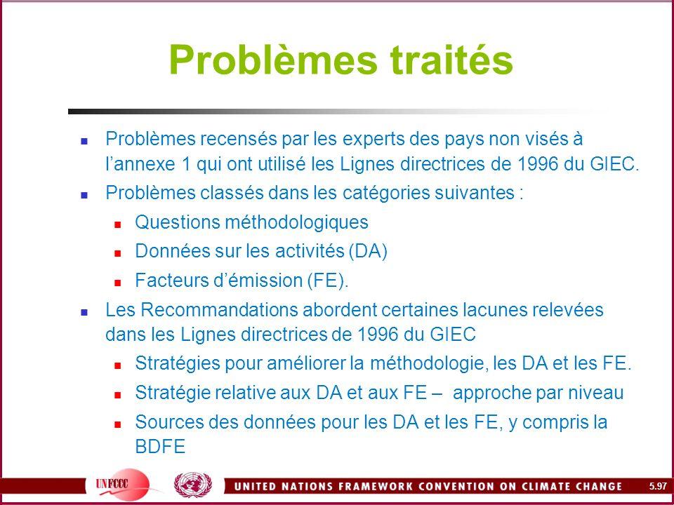 Problèmes traités Problèmes recensés par les experts des pays non visés à l'annexe 1 qui ont utilisé les Lignes directrices de 1996 du GIEC.