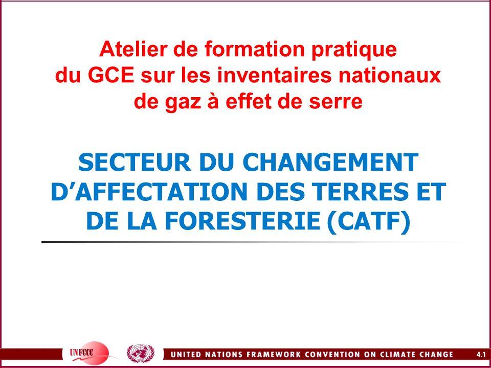 Atelier de formation pratique du GCE sur les inventaires nationaux de gaz à effet de serre SECTEUR DU CHANGEMENT D'AFFECTATION DES TERRES ET DE LA FORESTERIE (CATF)
