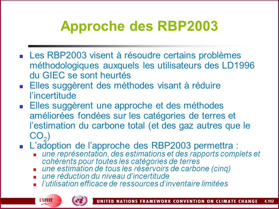 Approche des RBP2003Les RBP2003 visent à résoudre certains problèmes méthodologiques auxquels les utilisateurs des LD1996 du GIEC se sont heurtés.