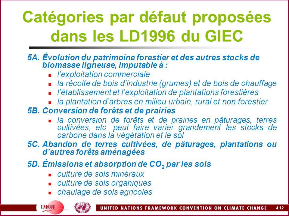 Catégories par défaut proposées dans les LD1996 du GIEC