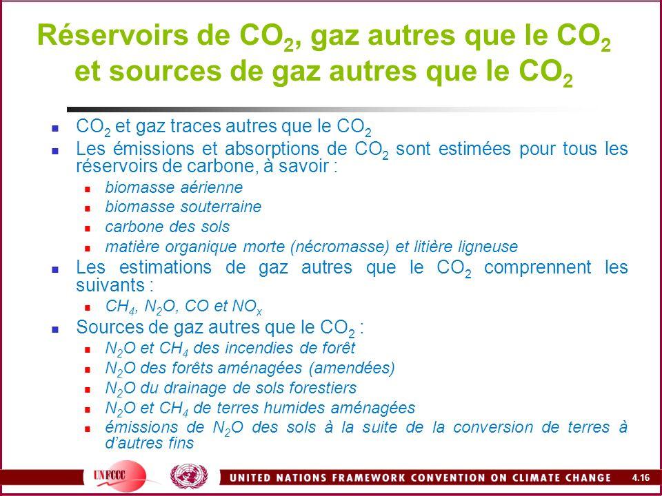 Réservoirs de CO2, gaz autres que le CO2 et sources de gaz autres que le CO2