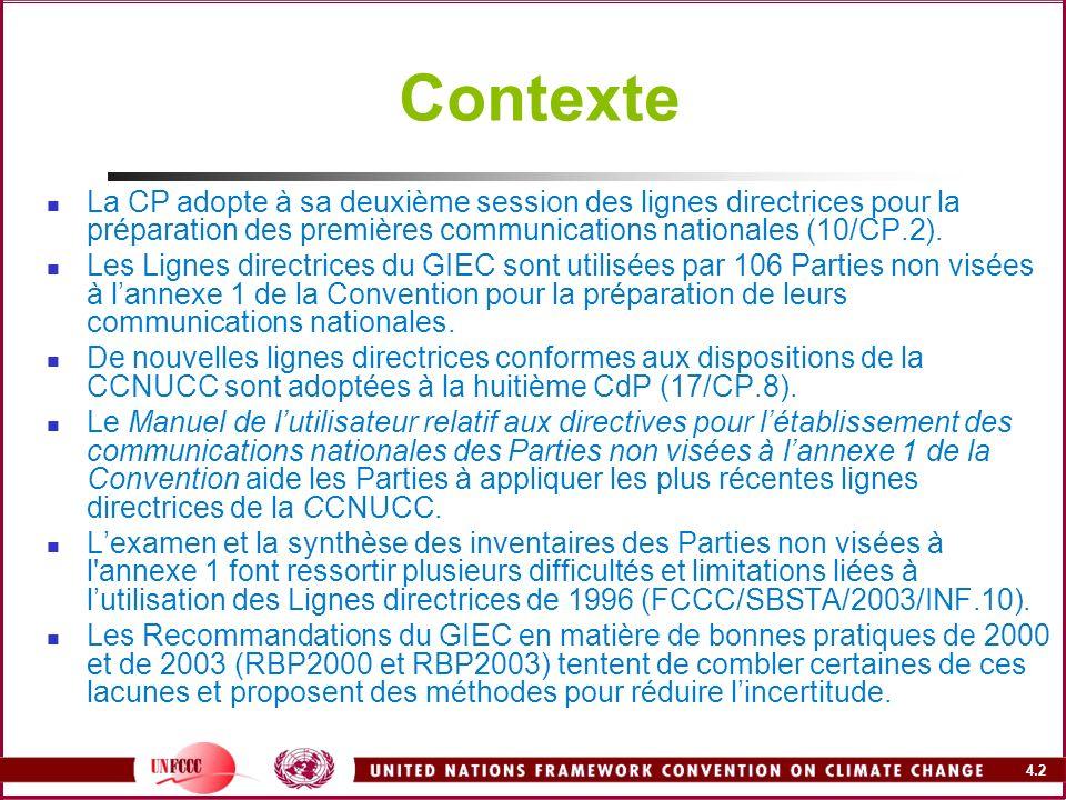 ContexteLa CP adopte à sa deuxième session des lignes directrices pour la préparation des premières communications nationales (10/CP.2).