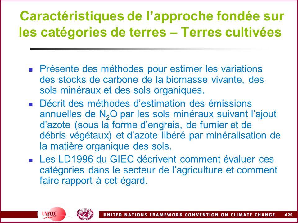 Caractéristiques de l'approche fondée sur les catégories de terres – Terres cultivées