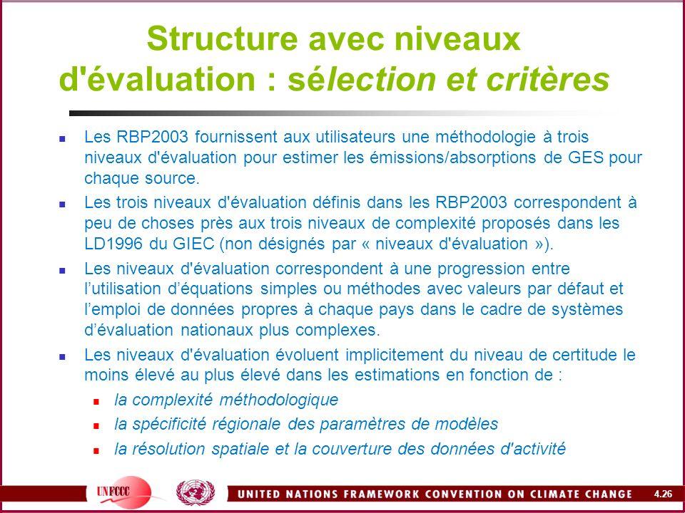 Structure avec niveaux d évaluation : sélection et critères