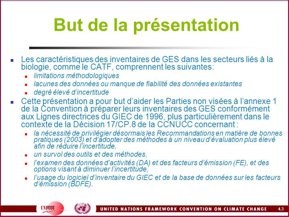 But de la présentation Les caractéristiques des inventaires de GES dans les secteurs liés à la biologie, comme le CATF, comprennent les suivantes: