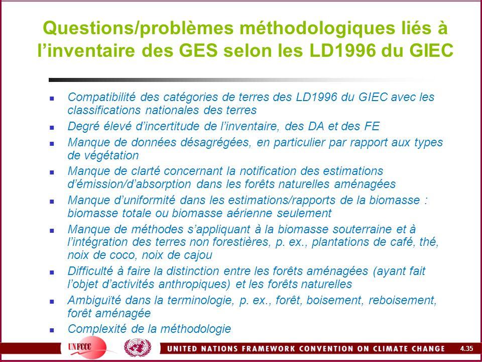 Questions/problèmes méthodologiques liés à l'inventaire des GES selon les LD1996 du GIEC