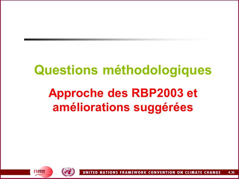 Questions méthodologiques Approche des RBP2003 et améliorations suggérées