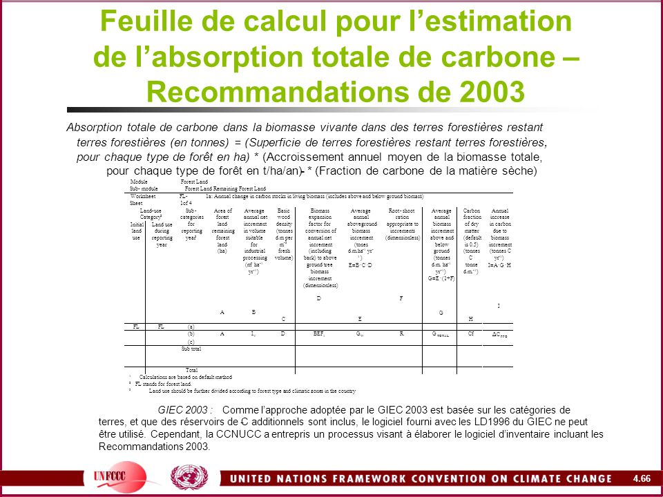 Feuille de calcul pour l'estimation de l'absorption totale de carbone – Recommandations de 2003