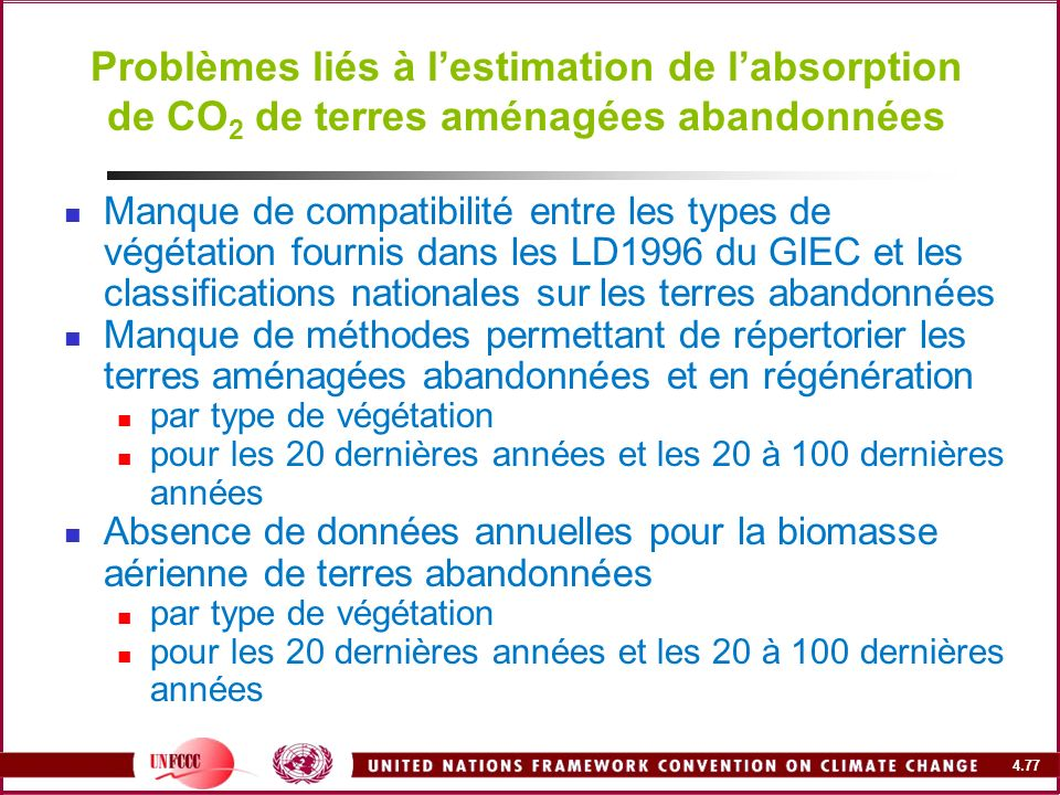 Problèmes liés à l'estimation de l'absorption de CO2 de terres aménagées abandonnées
