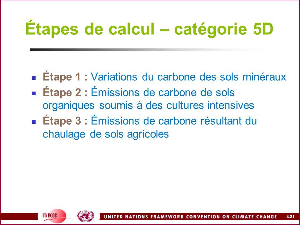 Étapes de calcul – catégorie 5D