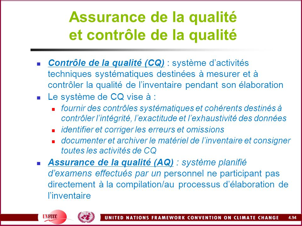 Assurance de la qualité et contrôle de la qualité
