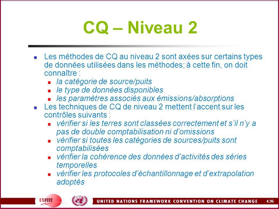 CQ – Niveau 2 Les méthodes de CQ au niveau 2 sont axées sur certains types de données utilisées dans les méthodes; à cette fin, on doit connaître :