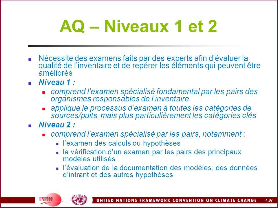 AQ – Niveaux 1 et 2