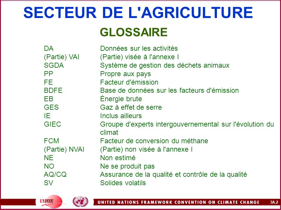 SECTEUR DE L AGRICULTURE