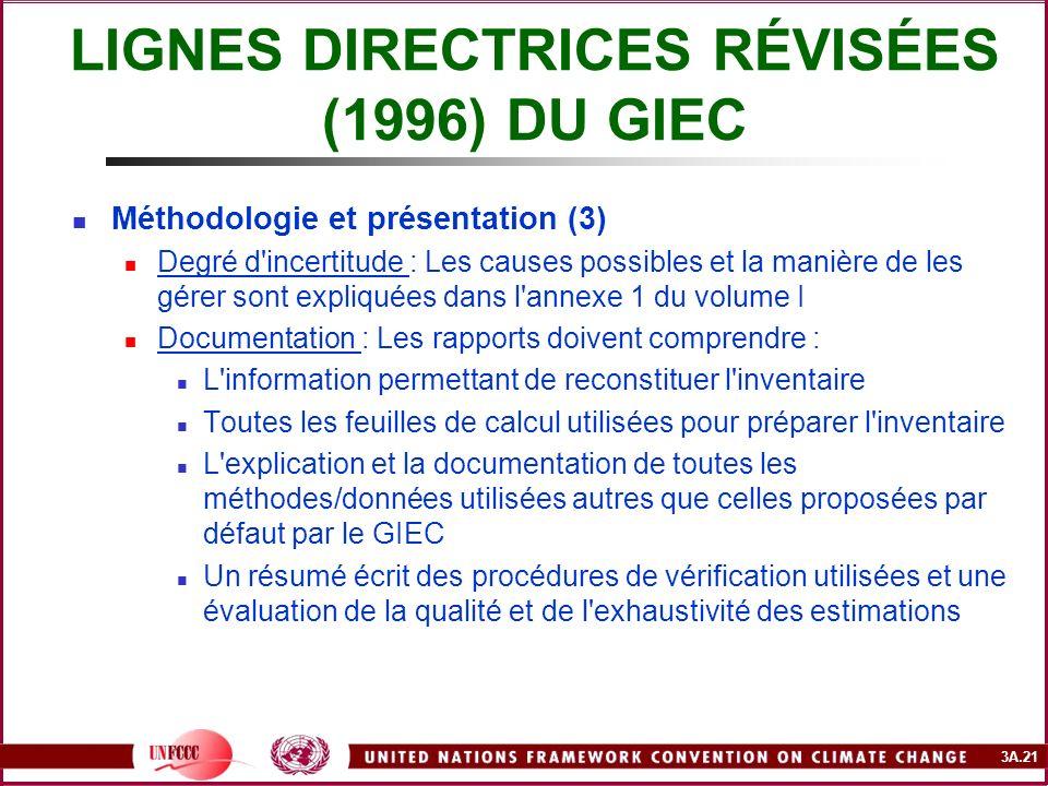 LIGNES DIRECTRICES RÉVISÉES (1996) DU GIEC