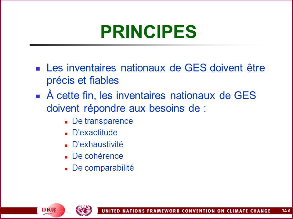 PRINCIPES Les inventaires nationaux de GES doivent être précis et fiables.