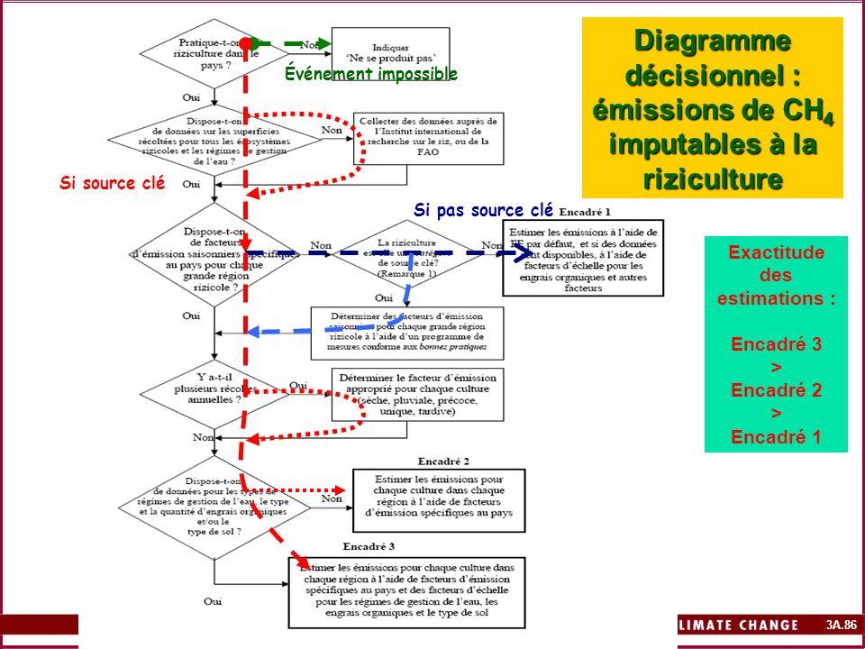 Diagramme décisionnel : émissions de CH4 imputables à la riziculture