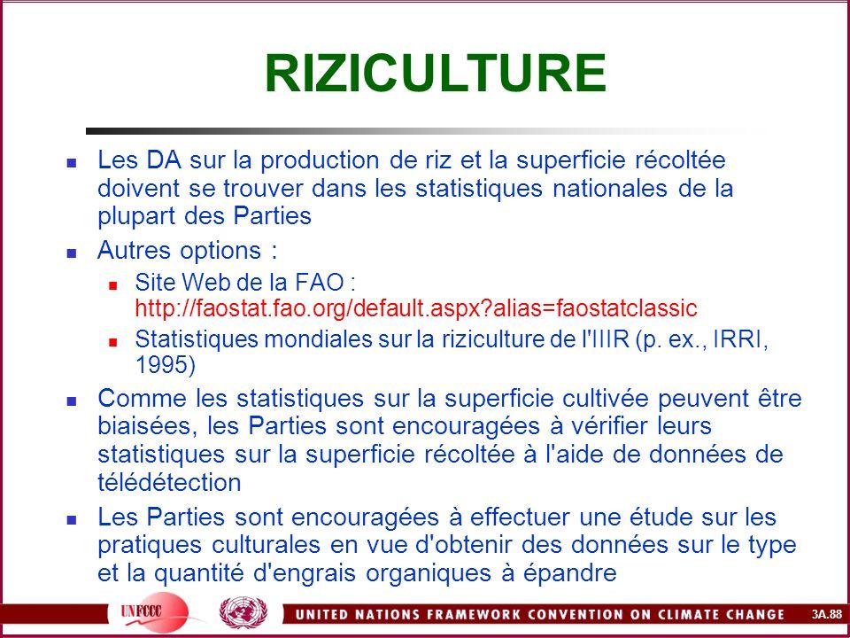 RIZICULTURE Les DA sur la production de riz et la superficie récoltée doivent se trouver dans les statistiques nationales de la plupart des Parties.