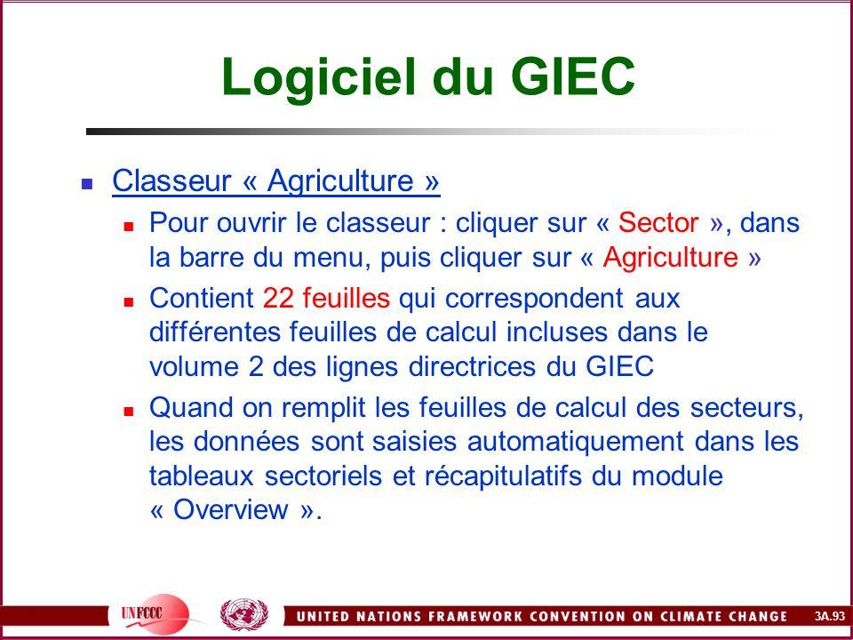 Logiciel du GIEC Classeur « Agriculture »