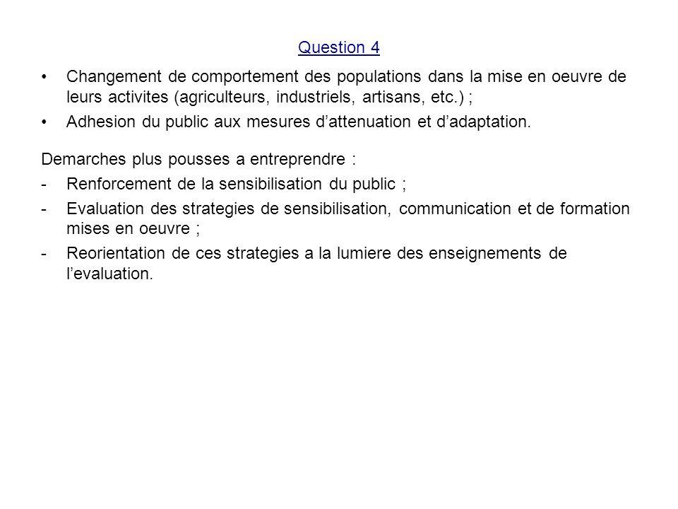 Question 4 Changement de comportement des populations dans la mise en oeuvre de leurs activites (agriculteurs, industriels, artisans, etc.) ;
