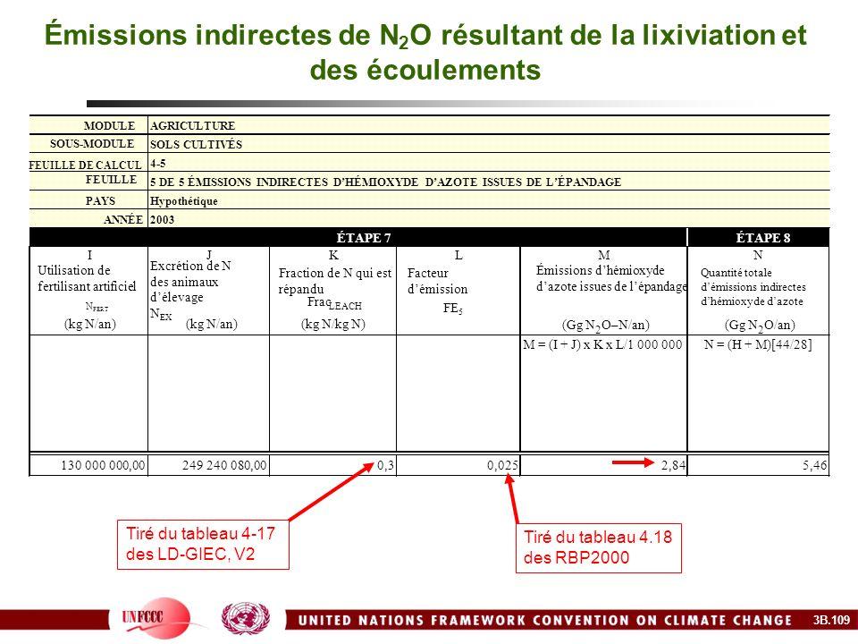 Émissions indirectes de N2O résultant de la lixiviation et des écoulements