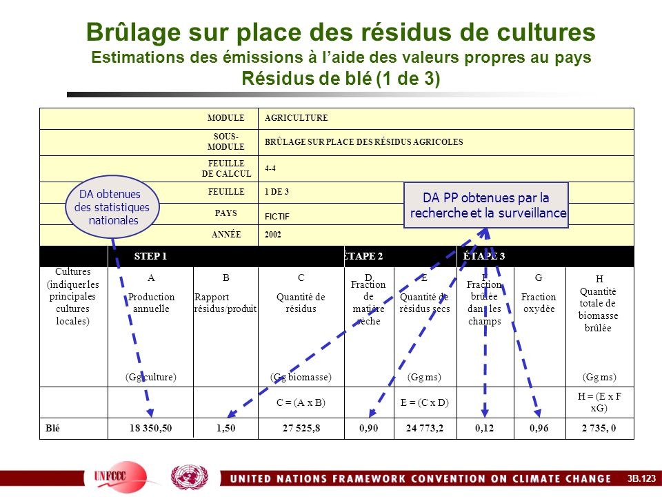 Brûlage sur place des résidus de cultures Estimations des émissions à l'aide des valeurs propres au pays Résidus de blé (1 de 3)