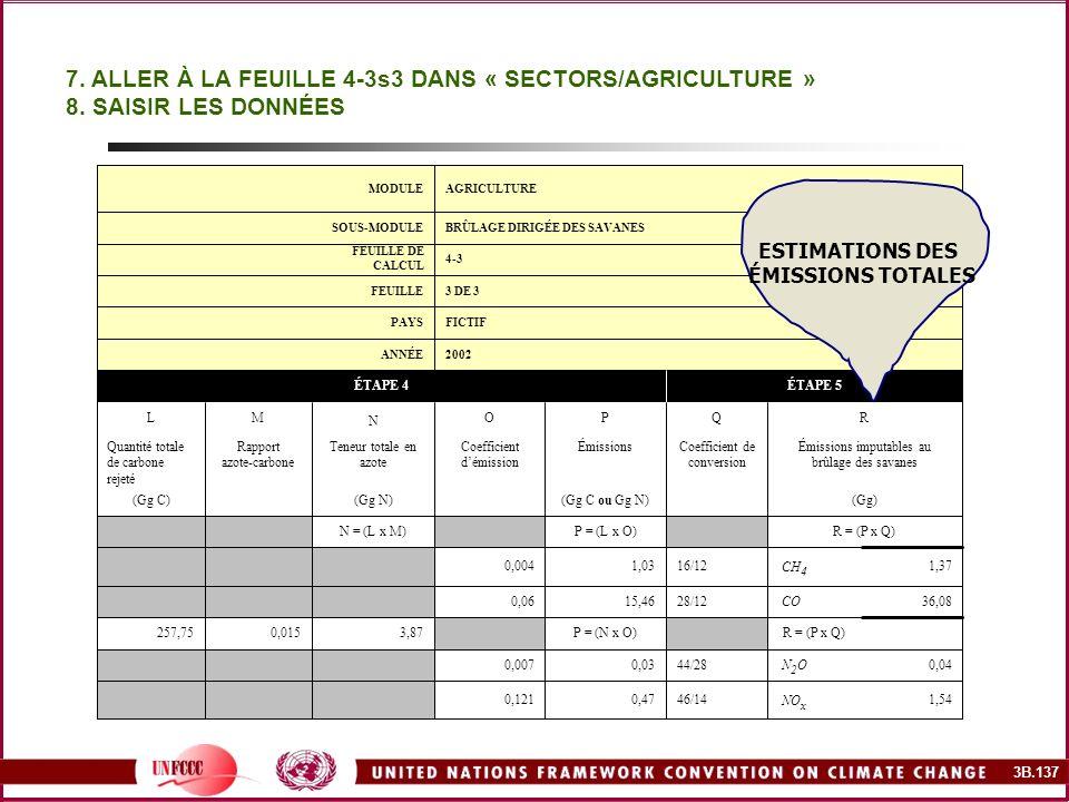 7. ALLER À LA FEUILLE 4-3s3 DANS « SECTORS/AGRICULTURE »