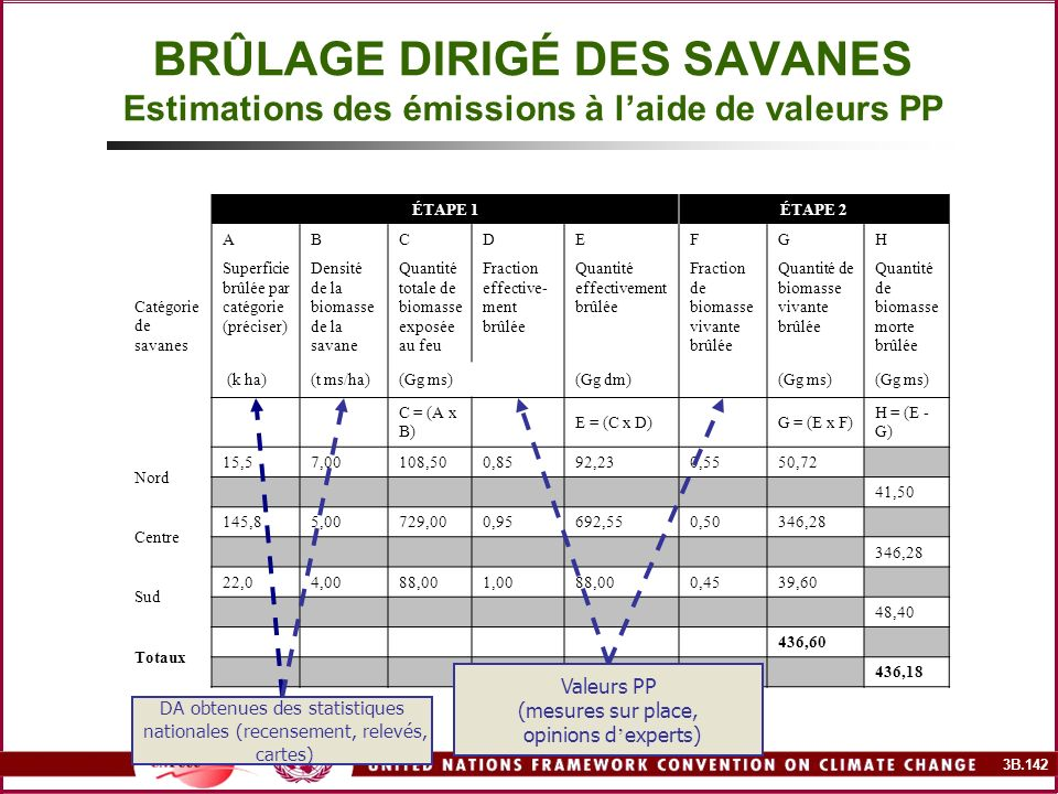 BRÛLAGE DIRIGÉ DES SAVANES Estimations des émissions à l'aide de valeurs PP