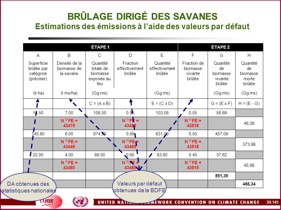 BRÛLAGE DIRIGÉ DES SAVANES Estimations des émissions à l'aide des valeurs par défaut